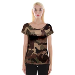 Background For Scrapbooking Or Other Camouflage Patterns Beige And Brown Women s Cap Sleeve Top