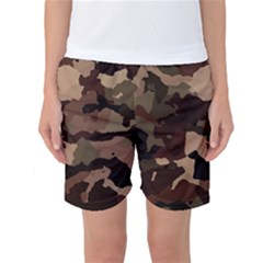 Background For Scrapbooking Or Other Camouflage Patterns Beige And Brown Women s Basketball Shorts