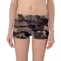 Background For Scrapbooking Or Other Camouflage Patterns Beige And Brown Boyleg Bikini Bottoms