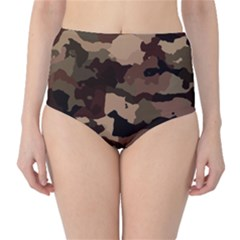 Background For Scrapbooking Or Other Camouflage Patterns Beige And Brown High-Waist Bikini Bottoms