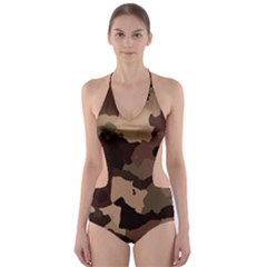 Background For Scrapbooking Or Other Camouflage Patterns Beige And Brown Cut-Out One Piece Swimsuit
