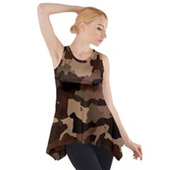 Background For Scrapbooking Or Other Camouflage Patterns Beige And Brown Side Drop Tank Tunic