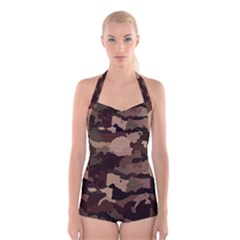 Background For Scrapbooking Or Other Camouflage Patterns Beige And Brown Boyleg Halter Swimsuit