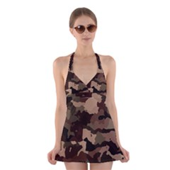 Background For Scrapbooking Or Other Camouflage Patterns Beige And Brown Halter Swimsuit Dress