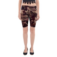 Background For Scrapbooking Or Other Camouflage Patterns Beige And Brown Yoga Cropped Leggings
