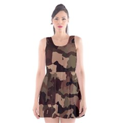 Background For Scrapbooking Or Other Camouflage Patterns Beige And Brown Scoop Neck Skater Dress