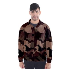 Background For Scrapbooking Or Other Camouflage Patterns Beige And Brown Wind Breaker (Men)