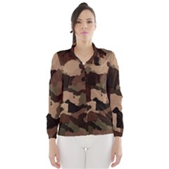 Background For Scrapbooking Or Other Camouflage Patterns Beige And Brown Wind Breaker (Women)