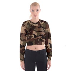 Background For Scrapbooking Or Other Camouflage Patterns Beige And Brown Women s Cropped Sweatshirt