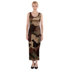 Background For Scrapbooking Or Other Camouflage Patterns Beige And Brown Fitted Maxi Dress
