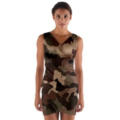 Background For Scrapbooking Or Other Camouflage Patterns Beige And Brown Wrap Front Bodycon Dress