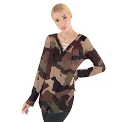 Background For Scrapbooking Or Other Camouflage Patterns Beige And Brown Women s Tie Up Tee