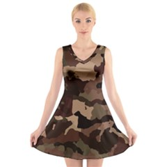Background For Scrapbooking Or Other Camouflage Patterns Beige And Brown V Neck Sleeveless Skater Dress