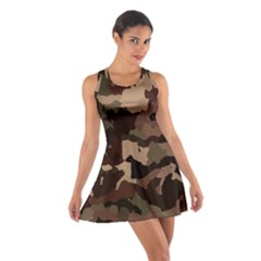 Background For Scrapbooking Or Other Camouflage Patterns Beige And Brown Cotton Racerback Dress