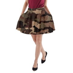 Background For Scrapbooking Or Other Camouflage Patterns Beige And Brown A-Line Pocket Skirt