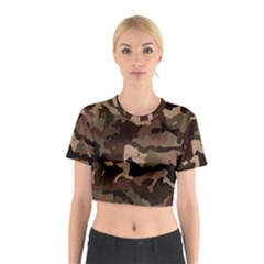 Background For Scrapbooking Or Other Camouflage Patterns Beige And Brown Cotton Crop Top
