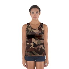 Background For Scrapbooking Or Other Camouflage Patterns Beige And Brown Women s Sport Tank Top