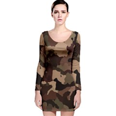 Background For Scrapbooking Or Other Camouflage Patterns Beige And Brown Long Sleeve Velvet Bodycon Dress