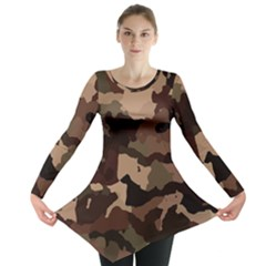Background For Scrapbooking Or Other Camouflage Patterns Beige And Brown Long Sleeve Tunic