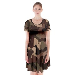 Background For Scrapbooking Or Other Camouflage Patterns Beige And Brown Short Sleeve V-neck Flare Dress