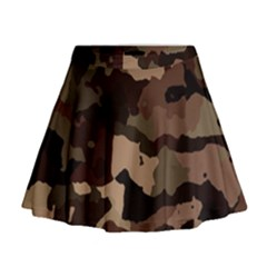 Background For Scrapbooking Or Other Camouflage Patterns Beige And Brown Mini Flare Skirt