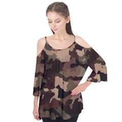 Background For Scrapbooking Or Other Camouflage Patterns Beige And Brown Flutter Tees