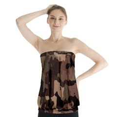 Background For Scrapbooking Or Other Camouflage Patterns Beige And Brown Strapless Top