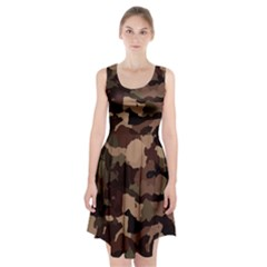 Background For Scrapbooking Or Other Camouflage Patterns Beige And Brown Racerback Midi Dress
