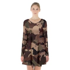 Background For Scrapbooking Or Other Camouflage Patterns Beige And Brown Long Sleeve Velvet V Neck Dress