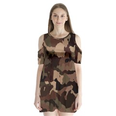Background For Scrapbooking Or Other Camouflage Patterns Beige And Brown Shoulder Cutout Velvet  One Piece