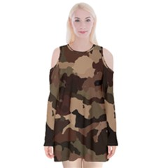 Background For Scrapbooking Or Other Camouflage Patterns Beige And Brown Velvet Long Sleeve Shoulder Cutout Dress