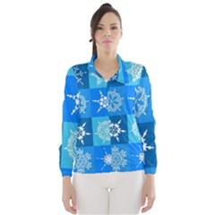 Background Blue Decoration Wind Breaker (Women)
