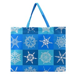 Background Blue Decoration Zipper Large Tote Bag