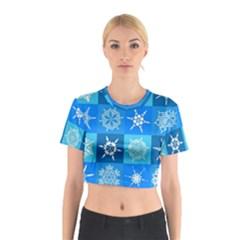 Background Blue Decoration Cotton Crop Top