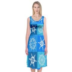 Background Blue Decoration Midi Sleeveless Dress