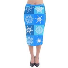 Background Blue Decoration Velvet Midi Pencil Skirt