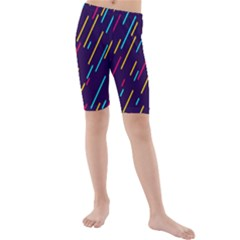 Background Lines Forms Kids  Mid Length Swim Shorts