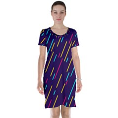 Background Lines Forms Short Sleeve Nightdress