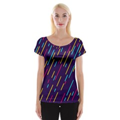 Background Lines Forms Women s Cap Sleeve Top