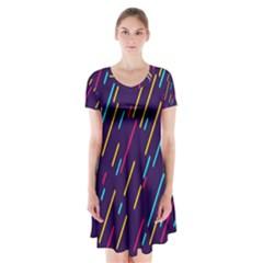 Background Lines Forms Short Sleeve V-neck Flare Dress