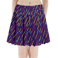 Background Lines Forms Pleated Mini Skirt