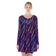 Background Lines Forms Long Sleeve Velvet V Neck Dress