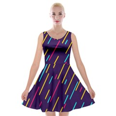 Background Lines Forms Velvet Skater Dress