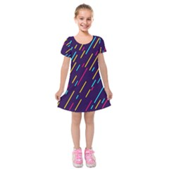 Background Lines Forms Kids  Short Sleeve Velvet Dress