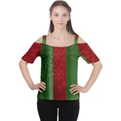 Background Christmas Women s Cutout Shoulder Tee
