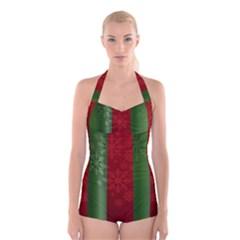 Background Christmas Boyleg Halter Swimsuit