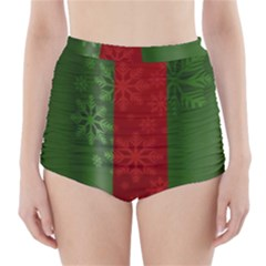 Background Christmas High-Waisted Bikini Bottoms