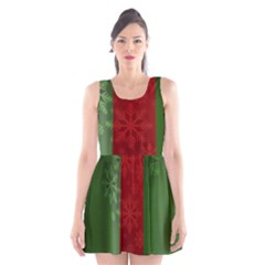 Background Christmas Scoop Neck Skater Dress