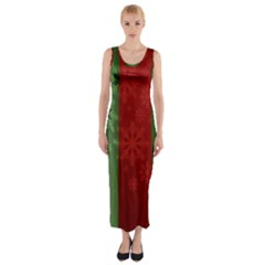 Background Christmas Fitted Maxi Dress