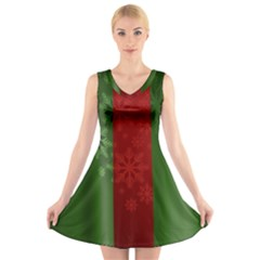 Background Christmas V Neck Sleeveless Skater Dress